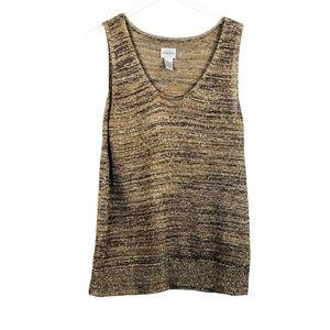 Chico's Metallic Sleeveless Scoop Neck Knit Tank Top Gold Brown 3 XL 16